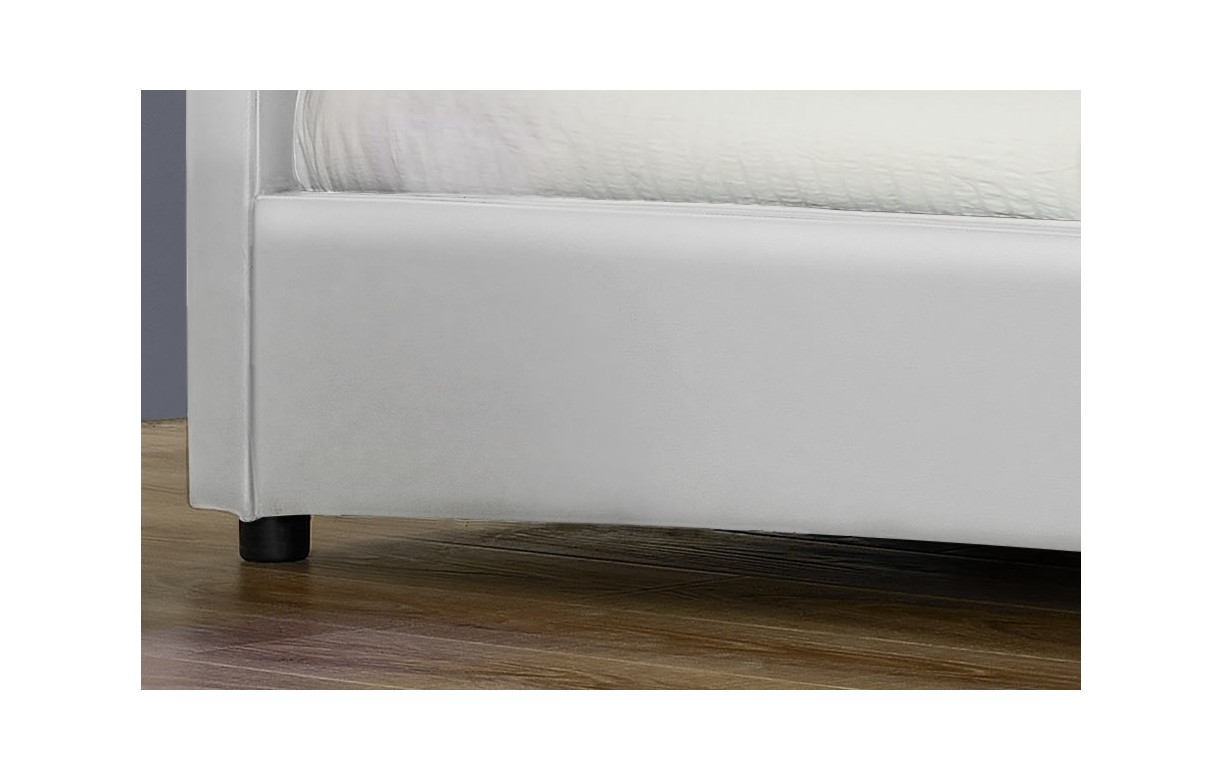lit 160 cm design en simili cuir blanc avec bande led light decome store. Black Bedroom Furniture Sets. Home Design Ideas