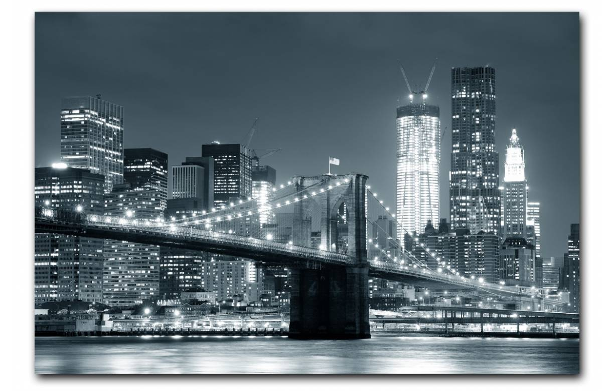 Tableau new york city by night 80x55 cm newy decome store for Tableau lumineux new york