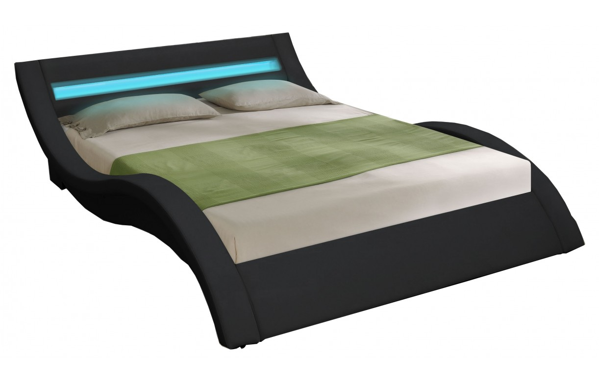 Lit double king size noir 180 cm avec sommier et bande led for Lit king size but