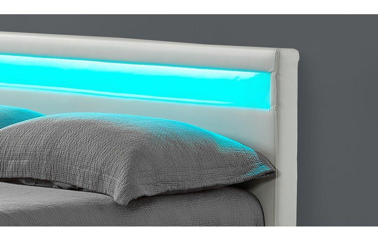 lit double design blanc italien 140 cm avec 4 tiroirs et. Black Bedroom Furniture Sets. Home Design Ideas