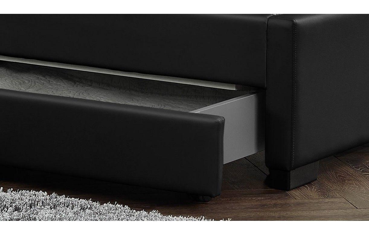 Lit 140 avec tiroirs de rangement noir et sommier int gr - Lit simili cuir noir ...