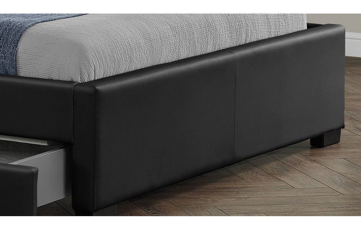 lit double design noir italien 160 cm avec bande led et 4. Black Bedroom Furniture Sets. Home Design Ideas