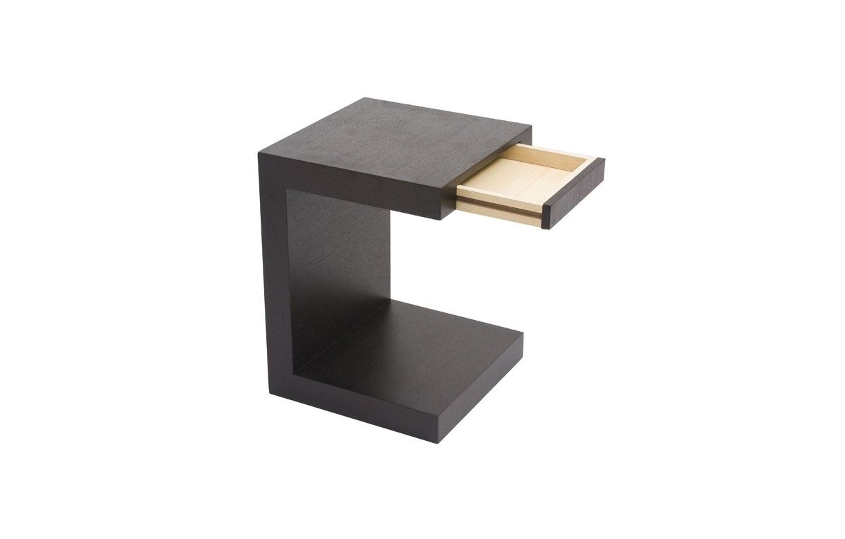 Table de chevet chene noir ou noyer avec tiroir int gr - Tabouret table de chevet ...
