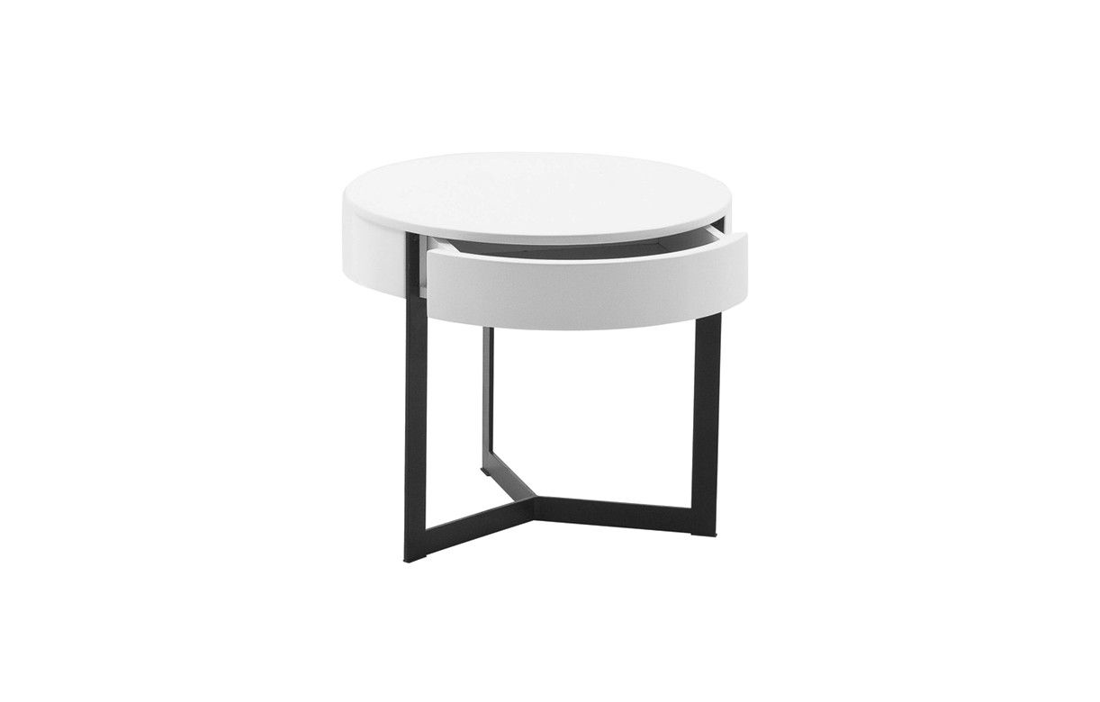 Table de nuit chevet laqu noir blanc ou gris fabry decome store - Table de chevet design laque blanc ...