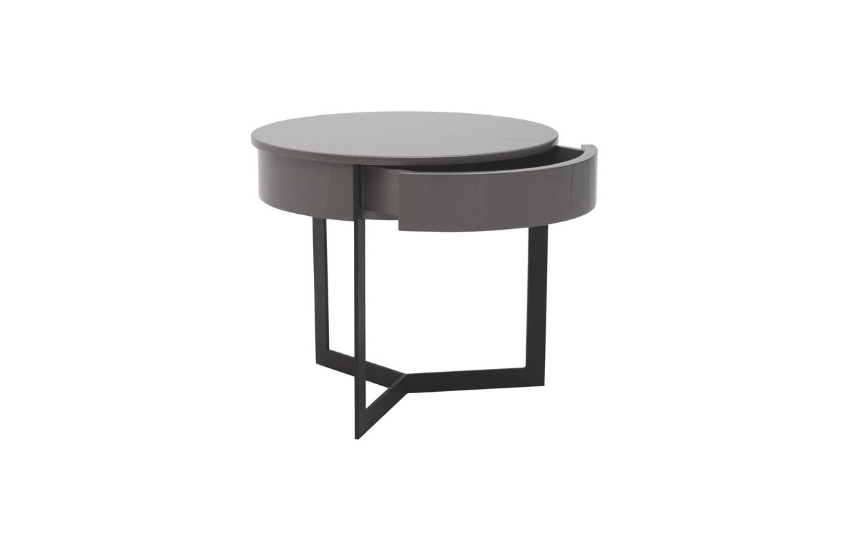 Table de nuit chevet laqu noir blanc ou gris fabry for Tabouret table de chevet