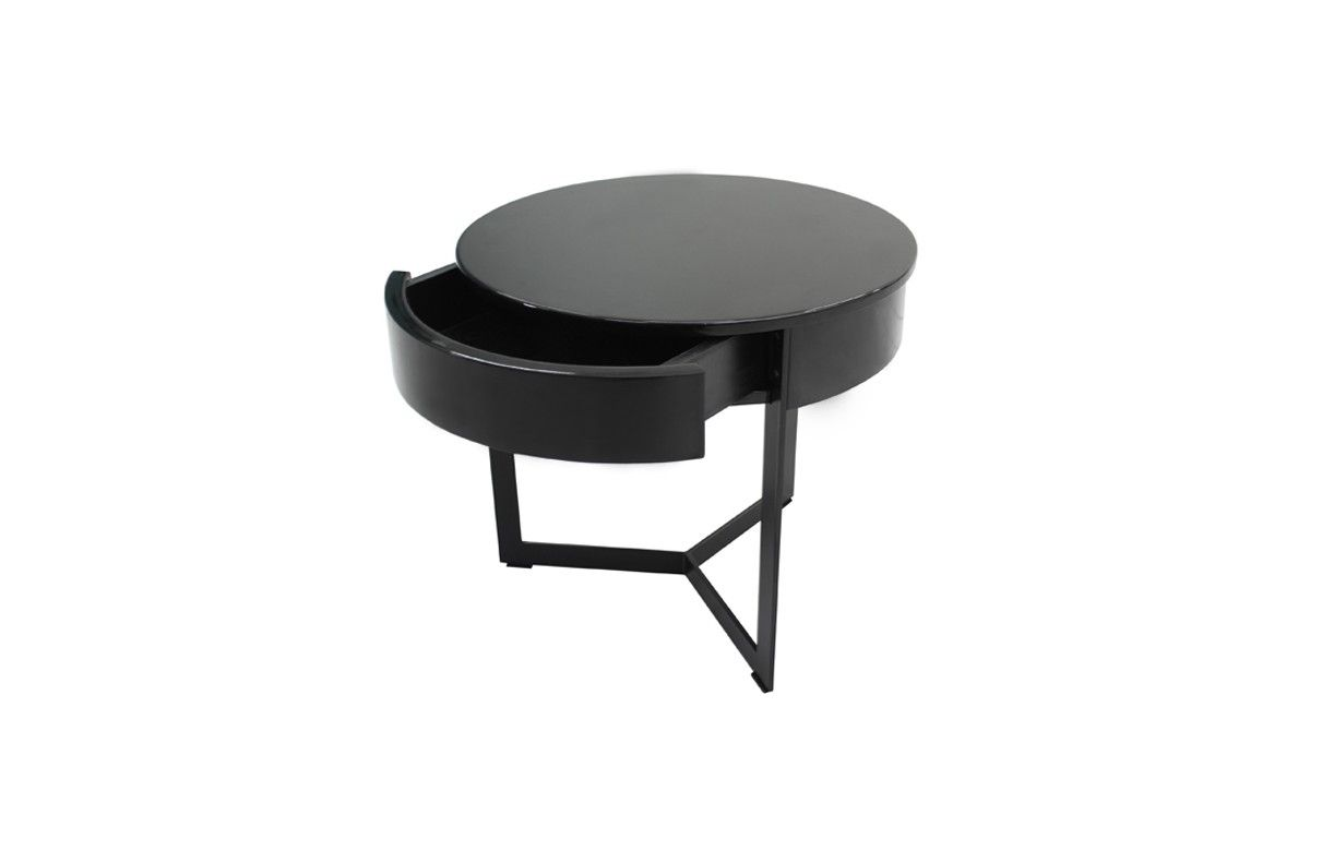 Table de nuit chevet laqu noir blanc ou gris fabry decome store - Table de chevet laque ...