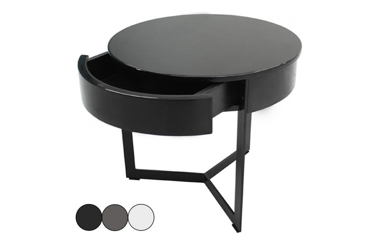 Table de nuit chevet laqu noir blanc ou gris fabry for Table de chevet noire