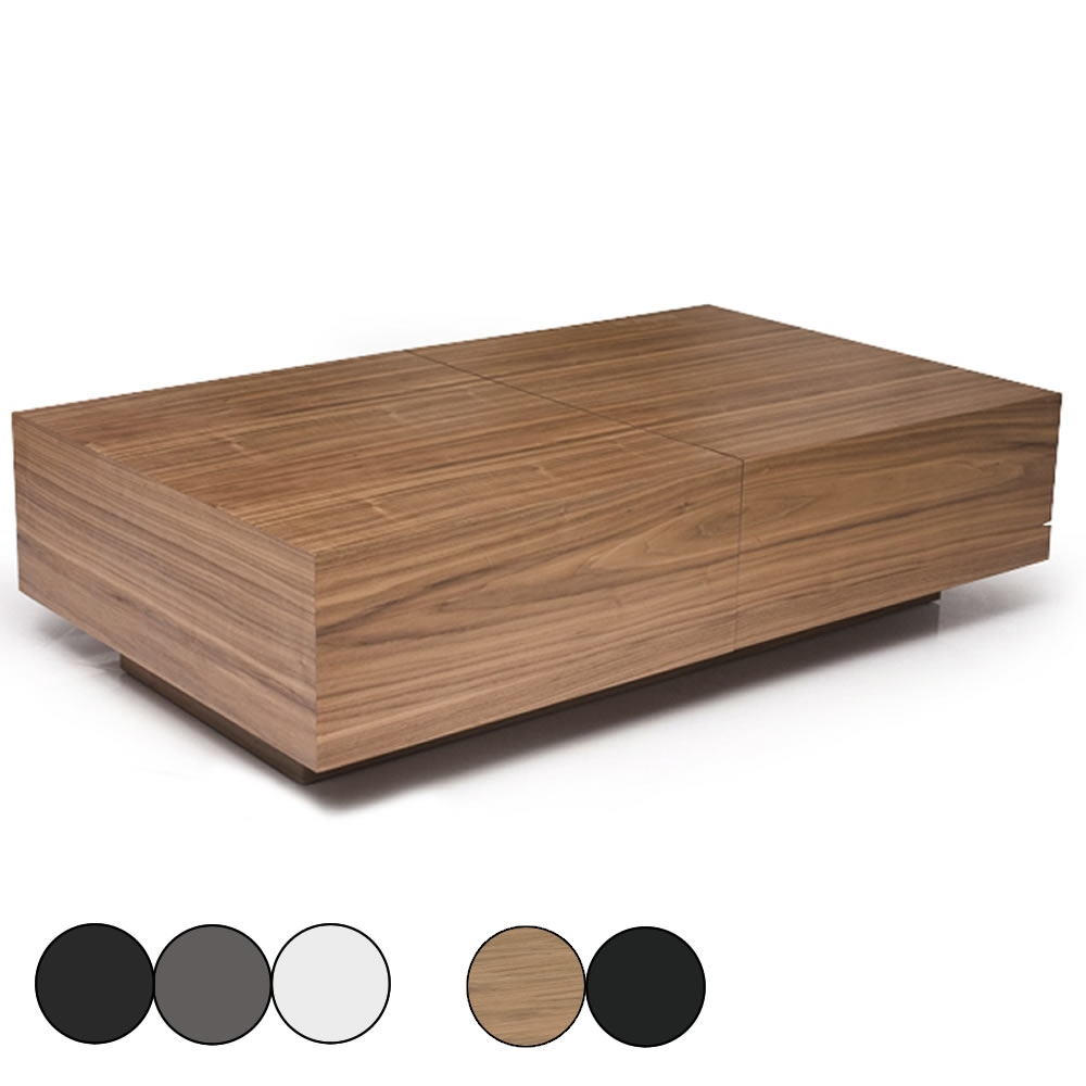 Table basse coulissante for Table basse coffre bois