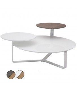 Table basse laquée bois 3 plateaux Fatiny - 2 coloris