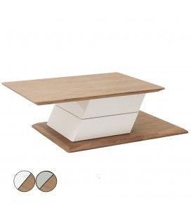 Table basse rotative grise ou blanche laquée et bois noyer Fulya