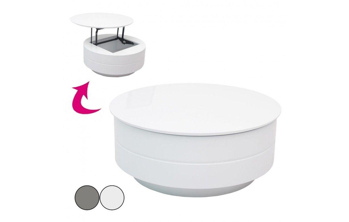 Table basse blanche ou grise avec plateau relevable - Table basse blanche relevable ...