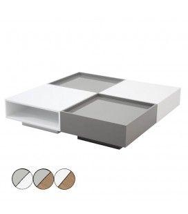 Table basse laquée design avec rangements Fauvy