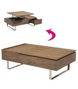 Table basse laqué bois noyer avec tiroir et plateau relevable Fayla