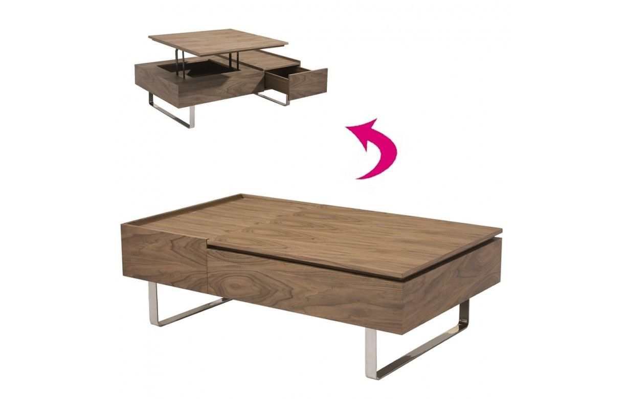 Table basse laqu e avec tiroir et plateau relevable for Table de salon relevable