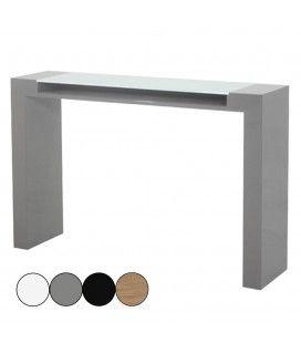 Console laquée avec plateau en verre et rangement Fidja - 4 coloris