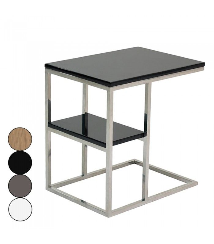 Table d 39 appoint en acier inox poli et plateau en bois for Table d appoint transparente
