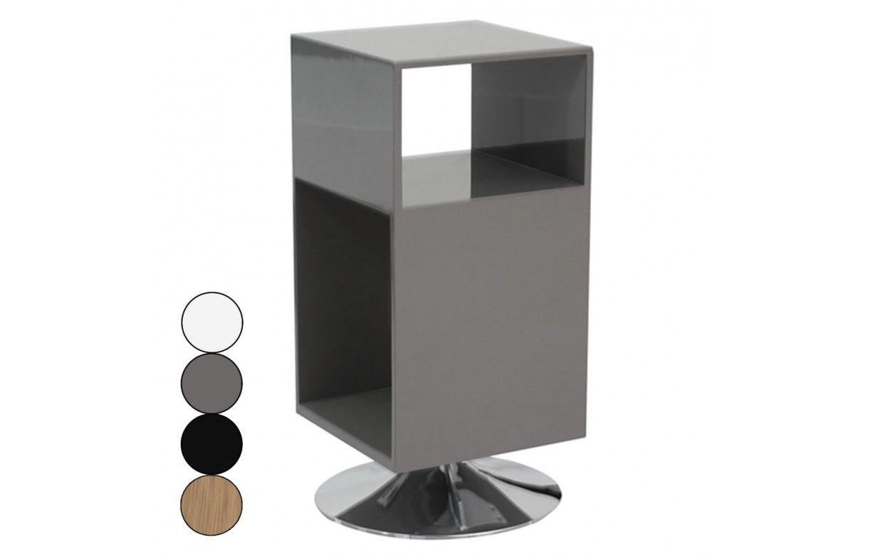 Table de chevet design avec rangements et pied m tal fridy - Table nuit design ...