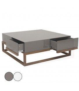 Table basse en hêtre massif et plateau laqué gris ou blanc 4 tiroirs Freya