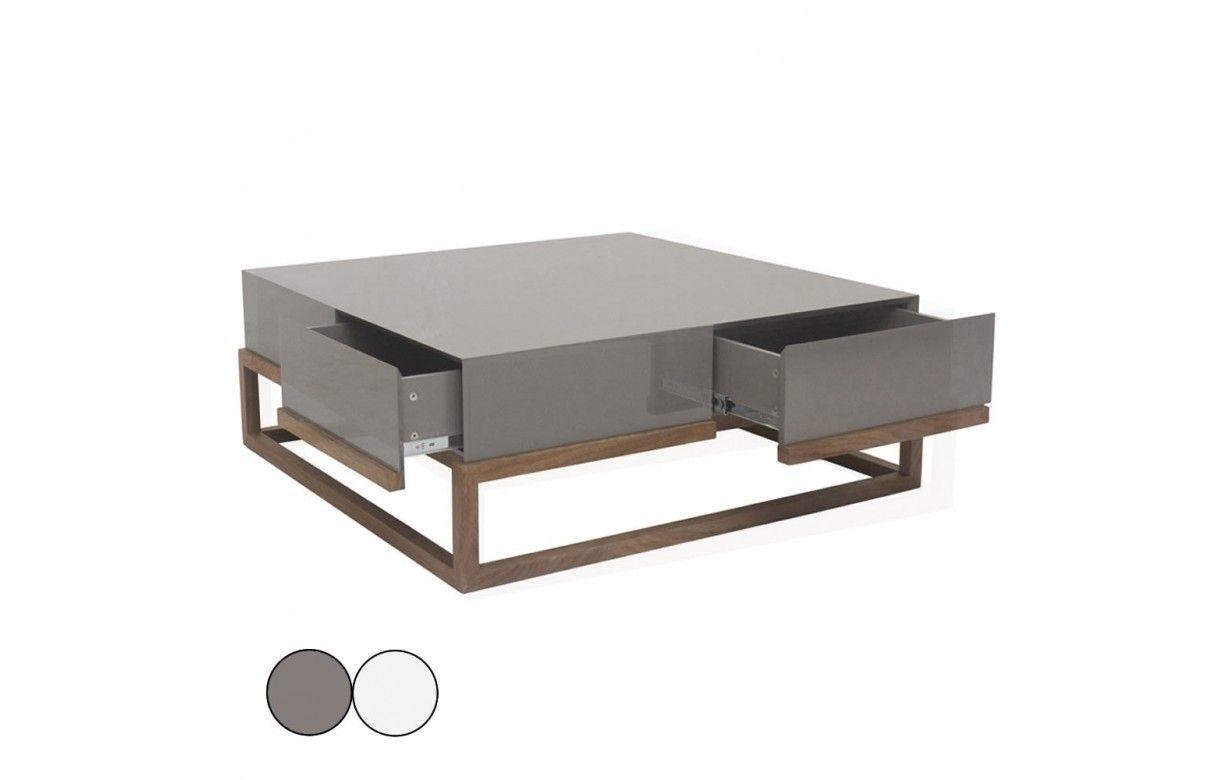 Table basse en h tre massif et plateau laqu gris ou blanc 4 tiroirs freya - Table basse laque blanc et gris ...