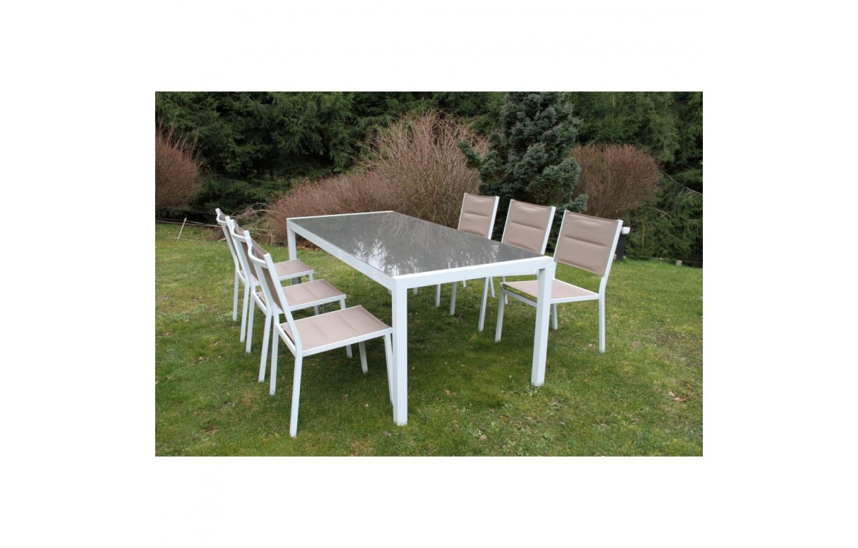Ensemble de jardin table et 6 chaises blanc et taupe for Table 6 chaises but