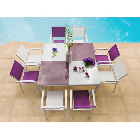 ensemble de repas d 39 ext rieur table et 8 fauteuils violet. Black Bedroom Furniture Sets. Home Design Ideas