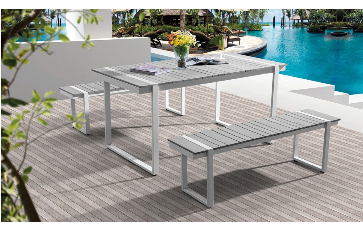 Table d 39 ext rieur et 2 bancs en aluminium et pvc gris for Table d exterieur en aluminium