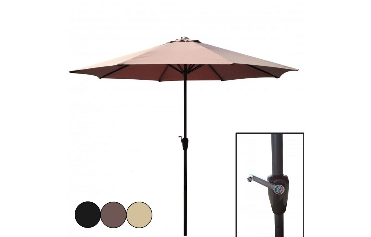 grand parasol manivelle 270 cm beige taupe ou noir deba decome store. Black Bedroom Furniture Sets. Home Design Ideas