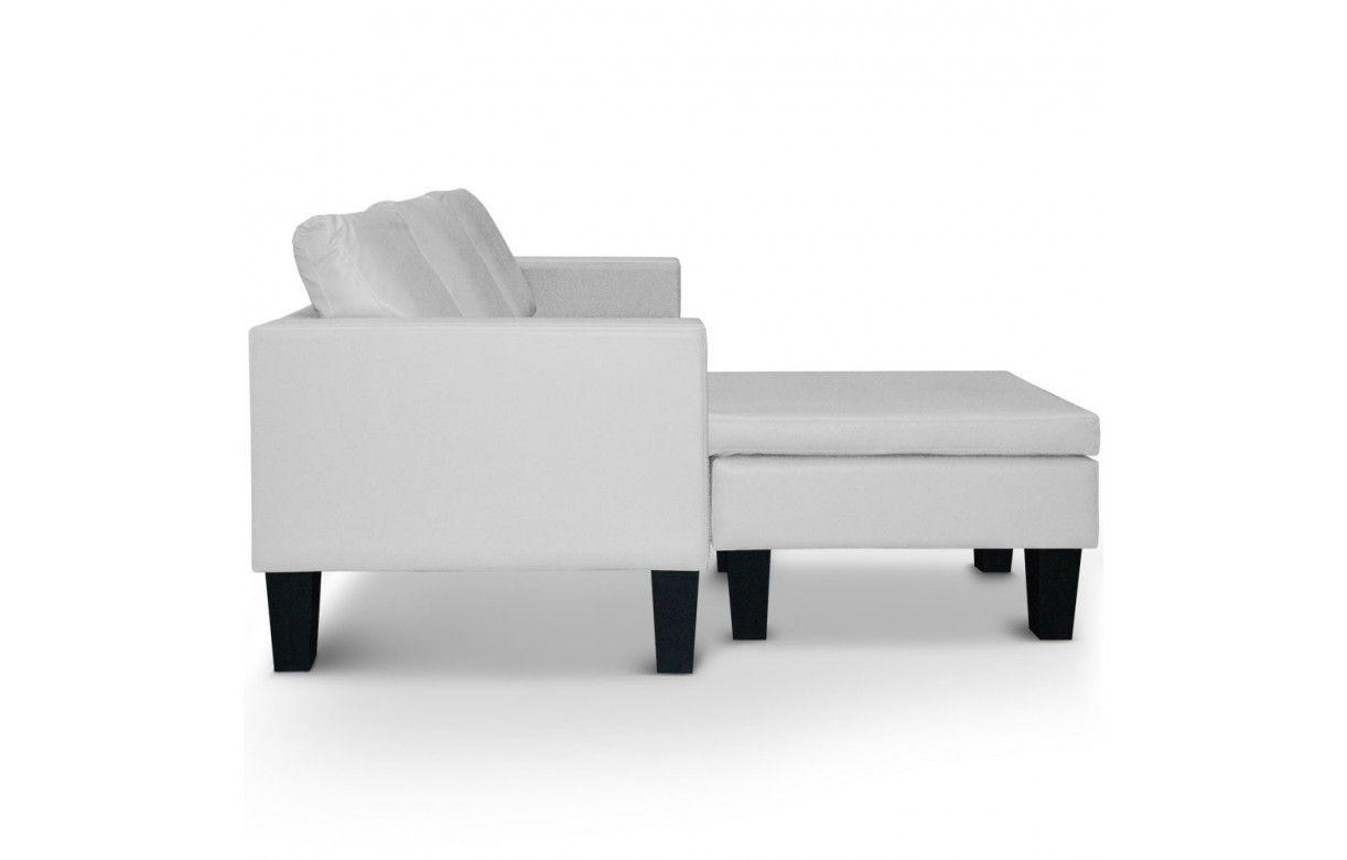 Canap d 39 angle r versible en simili cuir blanc gris ou noir malagy deco - Canape simili cuir gris ...