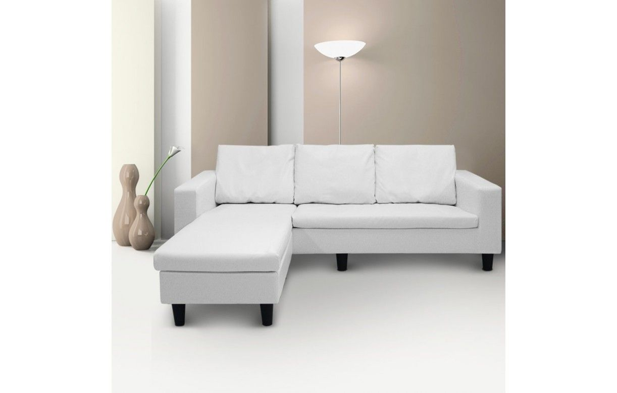 Canap d 39 angle r versible en simili cuir blanc gris ou for Canape gris simili cuir