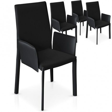 lot de 4 chaises avec accoudoirs noires grises ou blanches supra decome store. Black Bedroom Furniture Sets. Home Design Ideas
