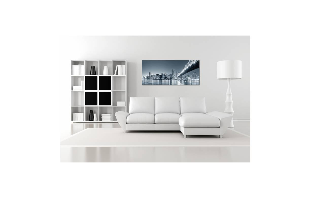 Tableau panoramique new york by night 90x30 cm panori for Meuble 90x30