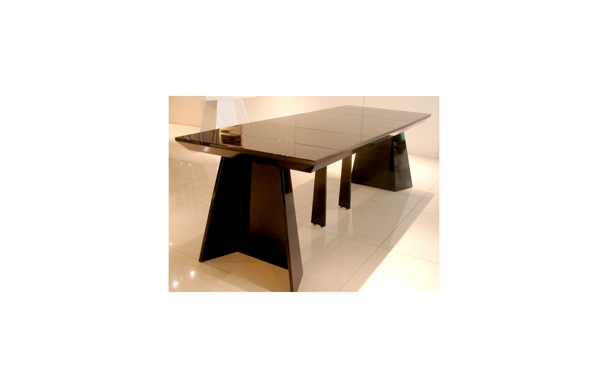Table console extensible design 220cm noire ou blanche for Table salle a manger console extensible