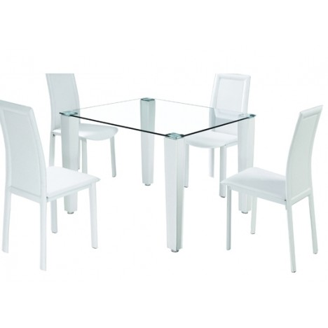 ensemble de repas blanc avec table en verre et 4 chaises. Black Bedroom Furniture Sets. Home Design Ideas