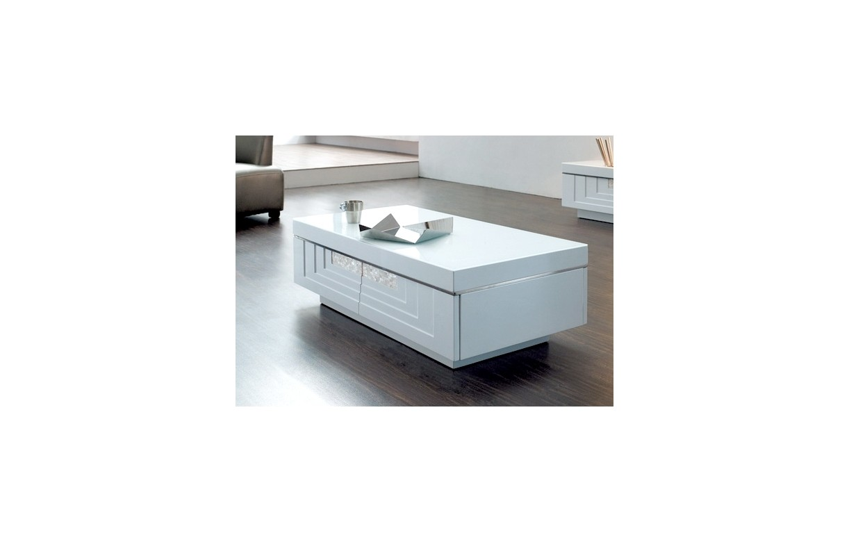 Table basse design blanche 2 tiroirs many decome store - Table basse blanche tiroir ...