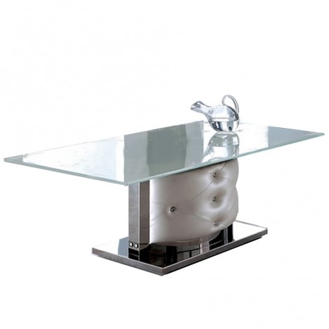 Table basse en verre et simili cuir capitonn pachy decome store - Table basse simili cuir ...