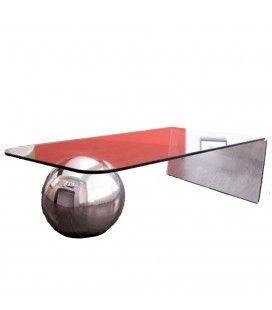 Table basse en verre design avec boule chromée Largy