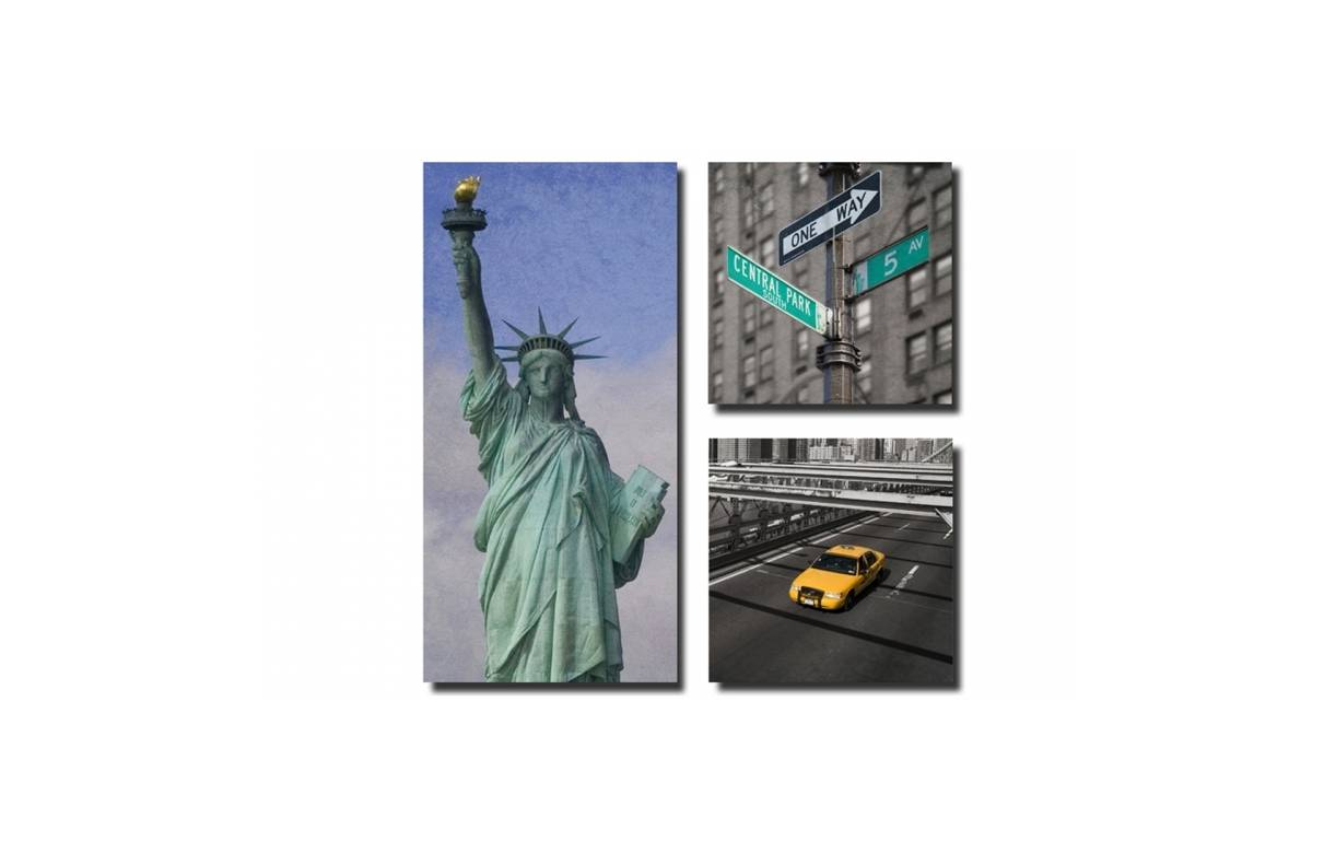 Tableau triptyque new york city 80x80 cm n y decome store - Tableau triptyque new york ...