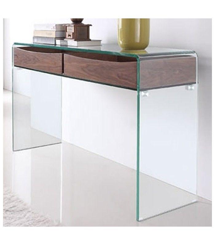 Console design en verre et bois glasswoody decome store - Bureau console design ...