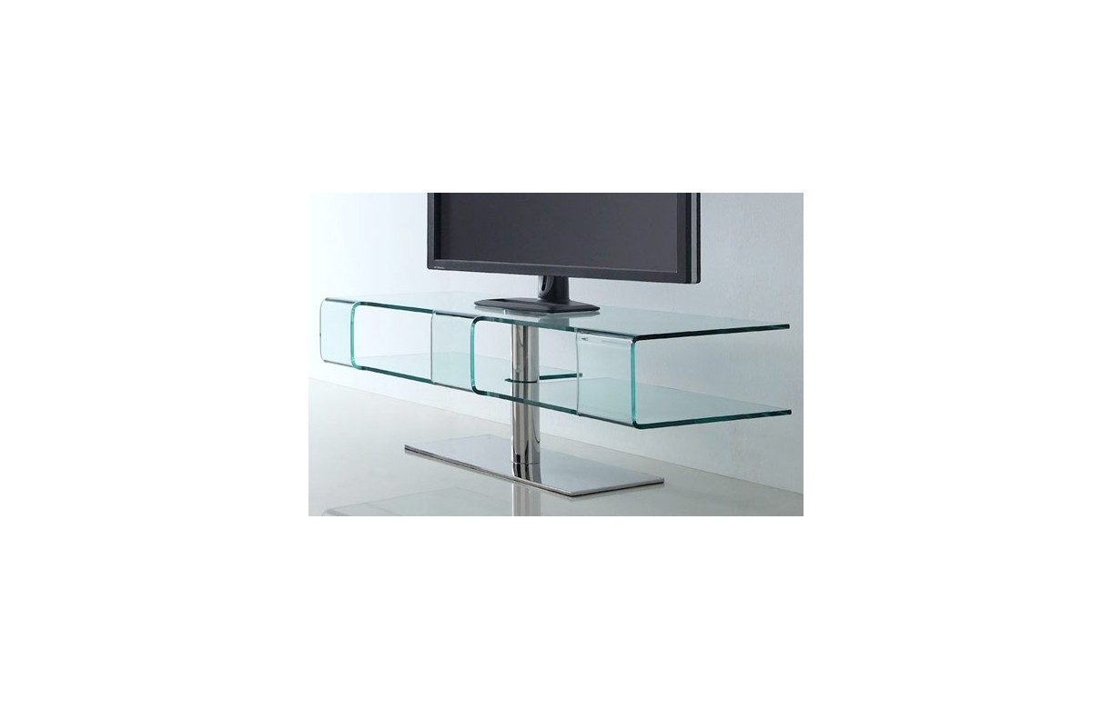 Meuble tv design en verre tremp et pied chrom alicy for Meuble tv en verre design