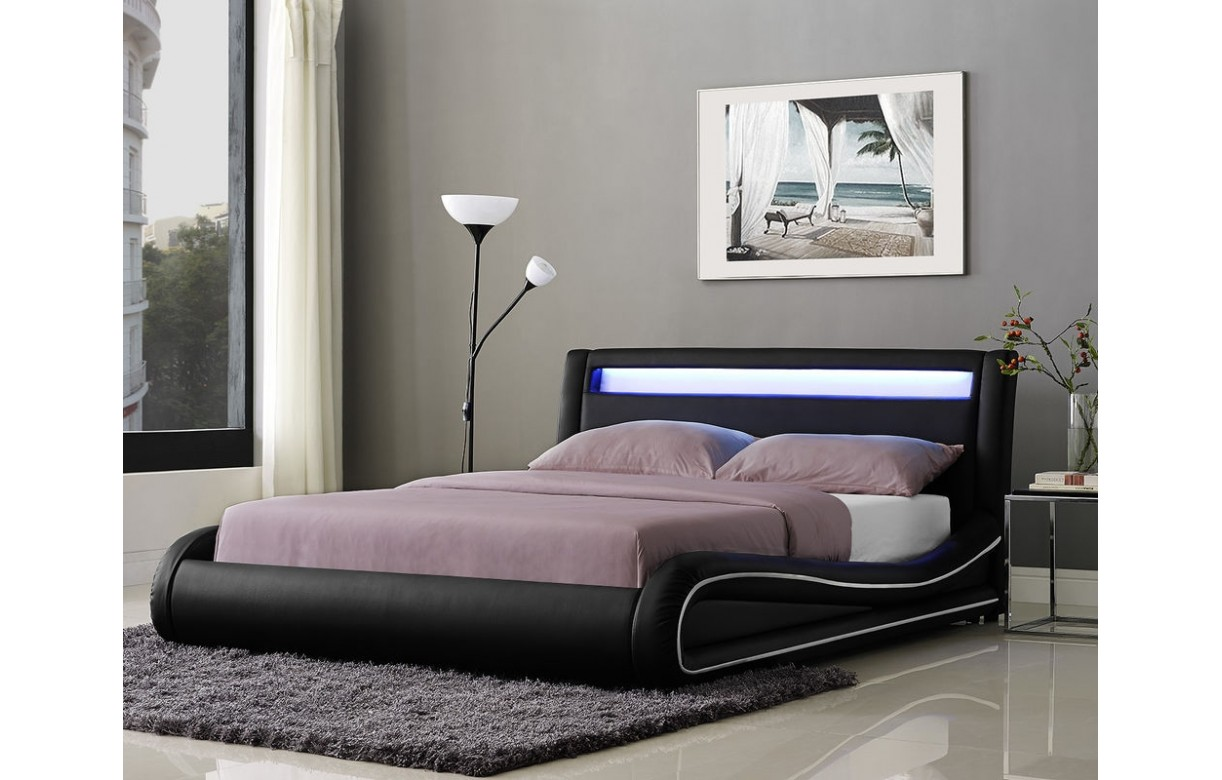lit design noir ou blanc 140 cm avec t te de lit clair e. Black Bedroom Furniture Sets. Home Design Ideas