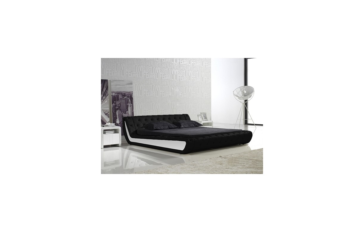 lit double noir et blanc capitonn 140 cm en simili cuir nany decome store. Black Bedroom Furniture Sets. Home Design Ideas