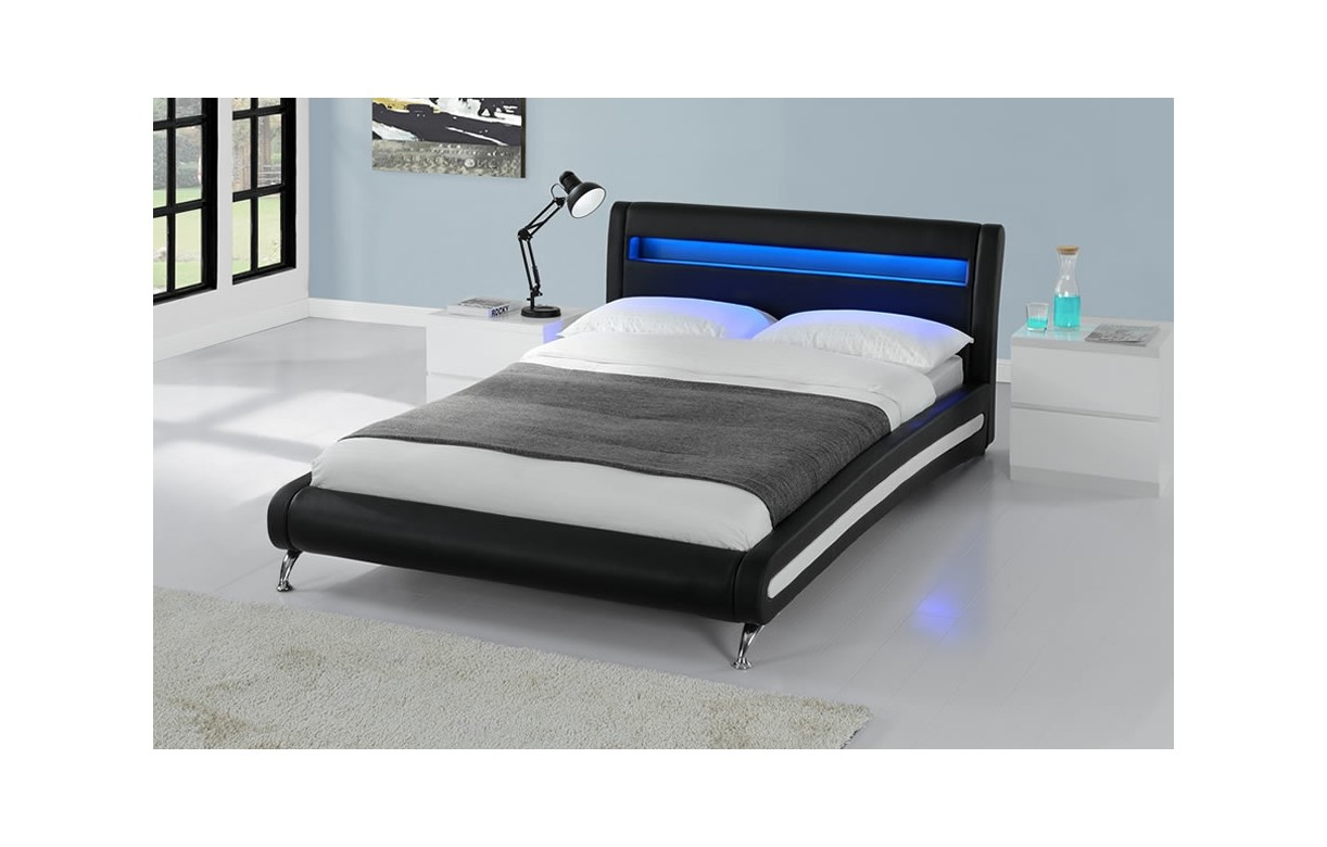 lit adulte 160x200 avec sommier et bande led coloris noir. Black Bedroom Furniture Sets. Home Design Ideas