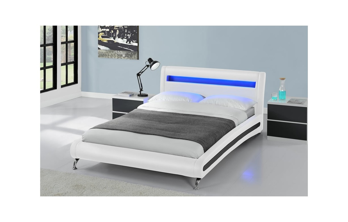 Lit adulte 160x200 avec sommier et bande led coloris blanc for Lit chambre adulte design