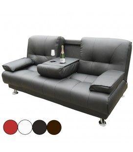 Canap lit en simili cuir avec banc coffre maora 4 coloris decome store - Clic clac avec accoudoir ...