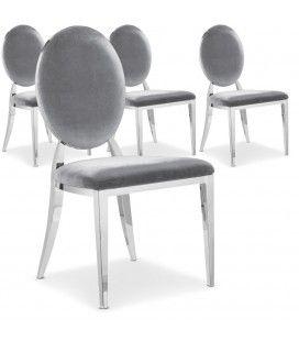Lot de 4 chaises médaillon en velours argent ou taupe et inox