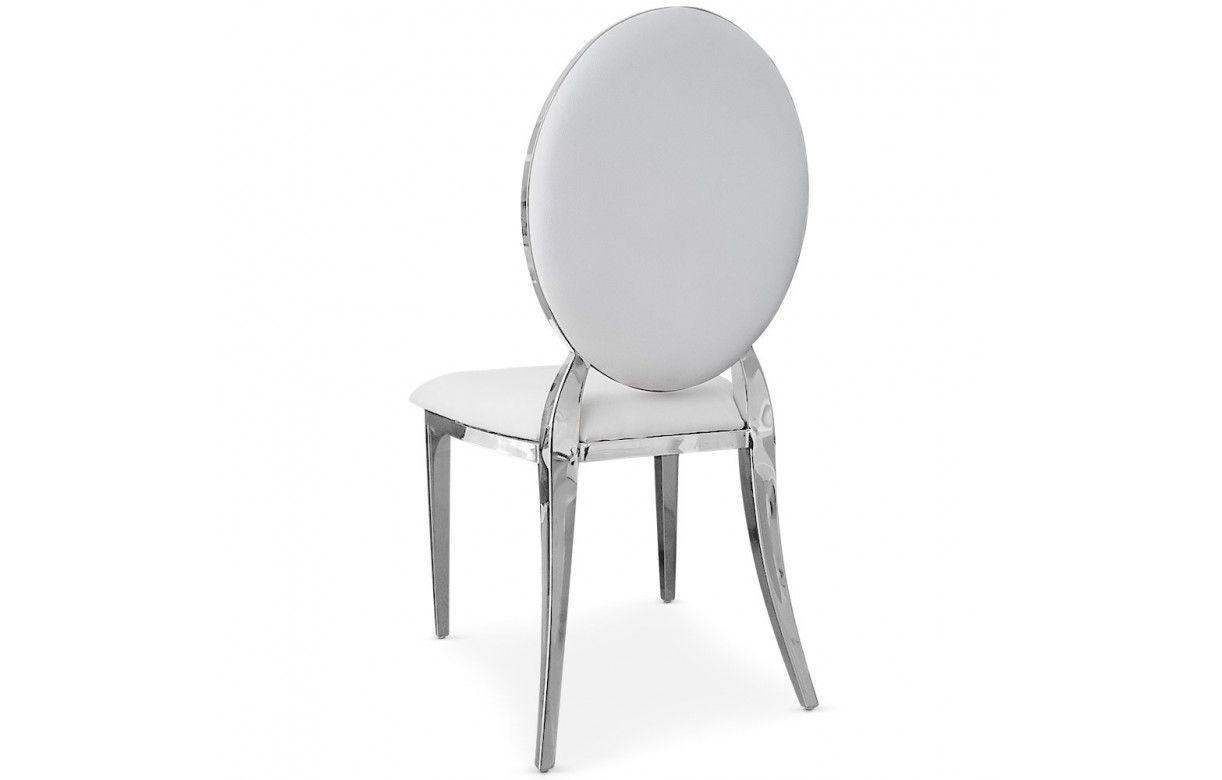 Lot de 4 chaises m daillon vinyle et pieds inox 4 coloris decome store for Chaise 3 pieds