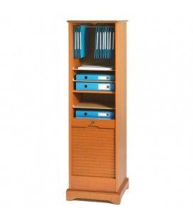 Rangement de bureau à rideau déroulant en bois merisier 150 cm LYON