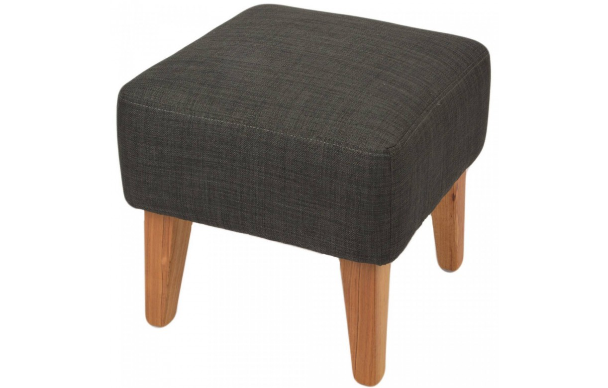 pouf design carr en toile et pieds en bois brandy 5 coloris decome store. Black Bedroom Furniture Sets. Home Design Ideas