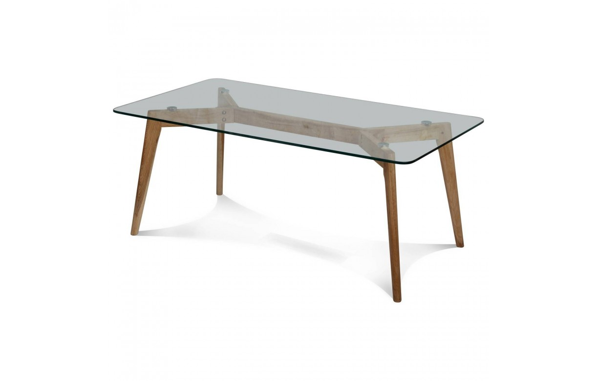 Table basse rectangle en verre et pieds en chene massif fiorda decome store - Table basse chene et verre ...