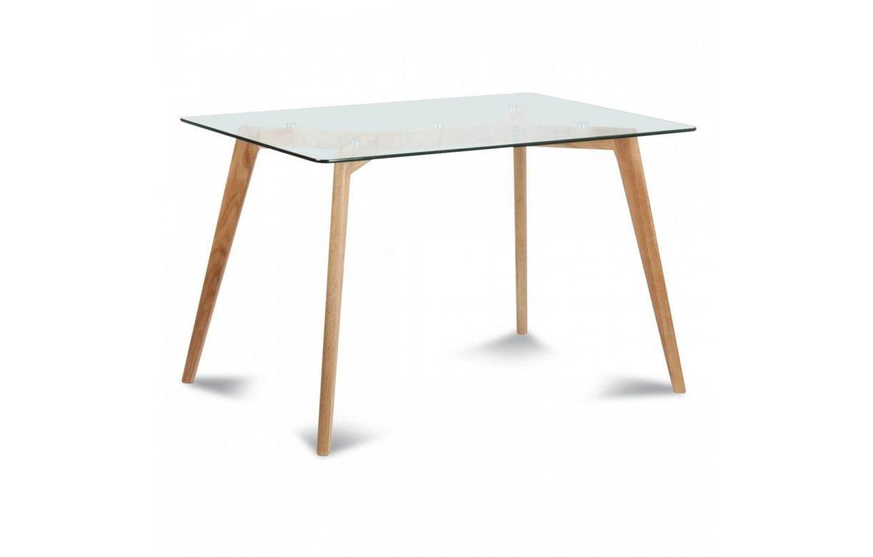 Table scandinave en verre et chene massif 4 12 couverts for Table verre scandinave